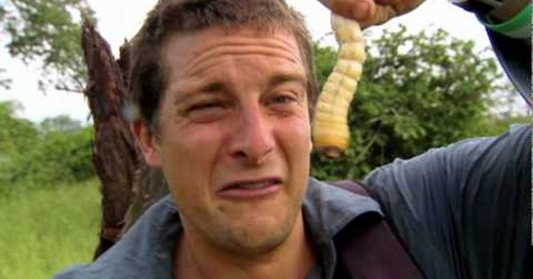 Bear Grylls stupidly eating a live uncooked beetle larvae
