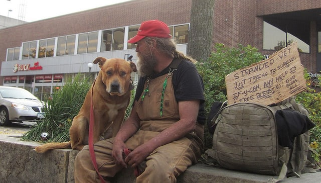homeless vet with dog