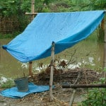 collecting rainwater with plastic tarp tent