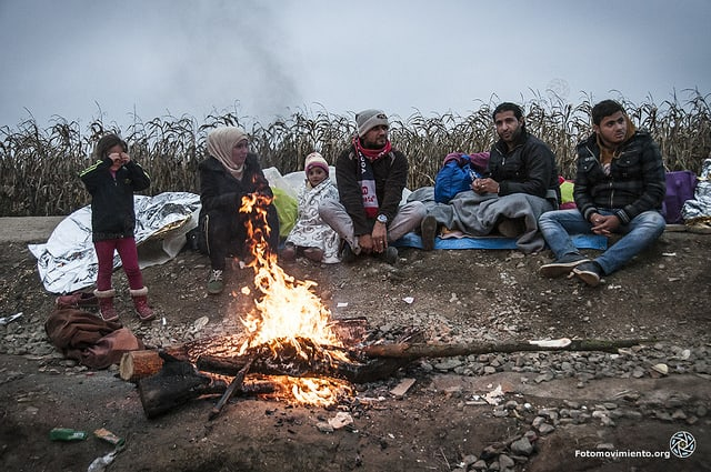 Syrian refugees trying to stay warm