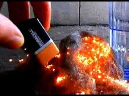 battery steel wool fire starter
