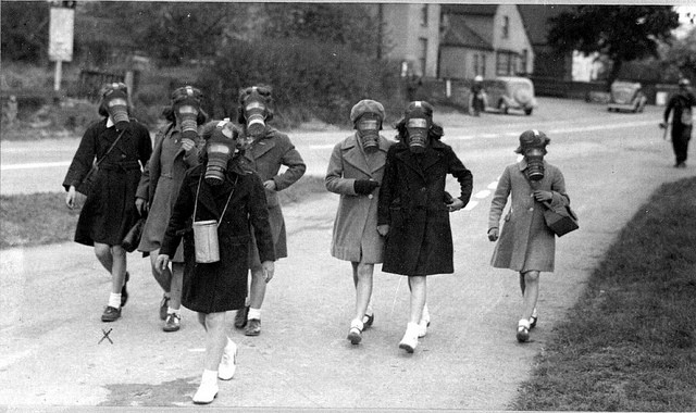 Gas mask practice in 1940