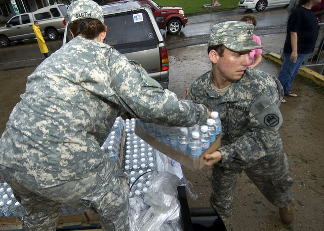 The Army National Guard delivering emergency water after Hurricane Gustav