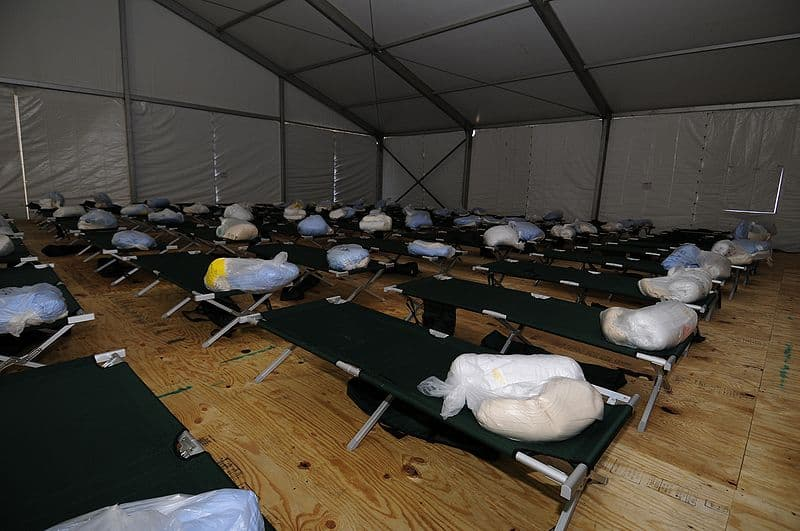 FEMA beds set up for hurricane victims