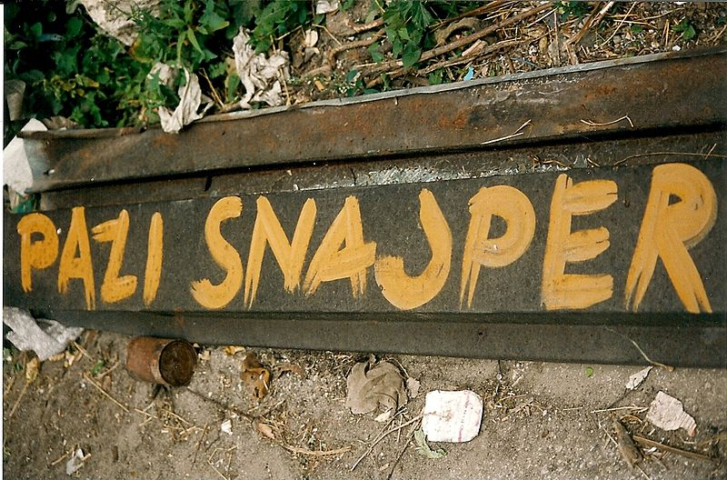 A sign in Sarajevo warning people of a sniper nearby