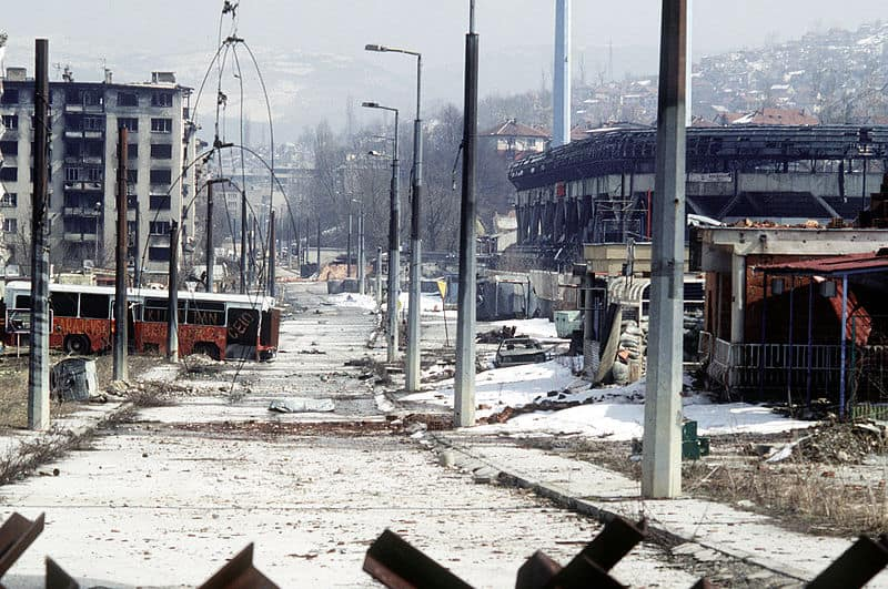 Sarajevo streets during the siege