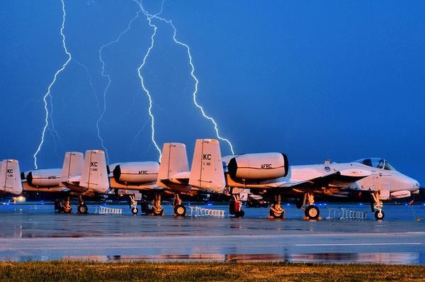 Plane being struck by lightning