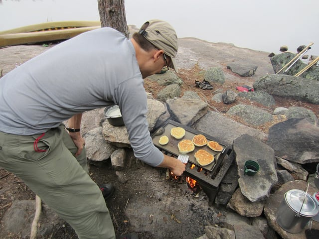 pancakes over campfire