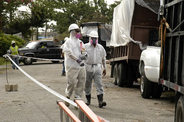 Hurricane Katrina workers protected against asbestos and other environmental hazards.