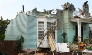 House damaged by hurricane