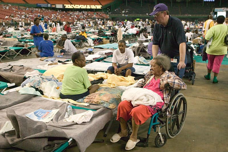 elderly person in FEMA shelter