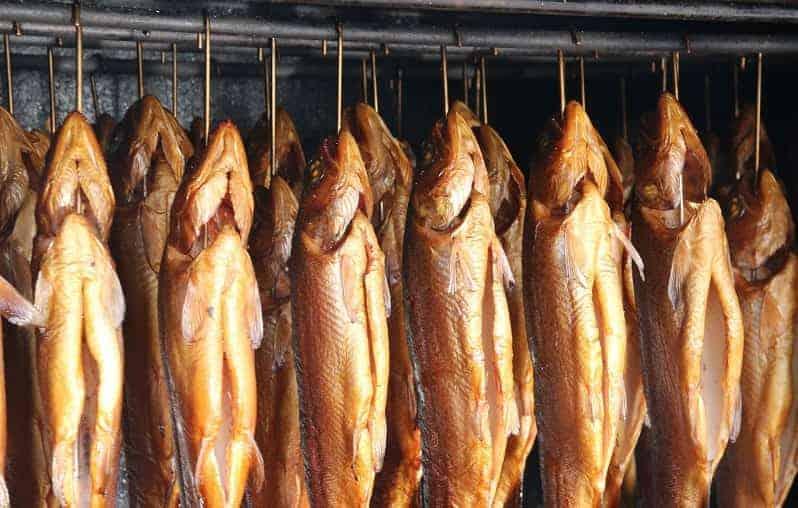 Fish being smoked