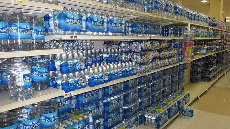 bottled water in supermarket