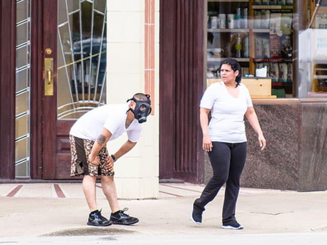 prepper wearing gas mask
