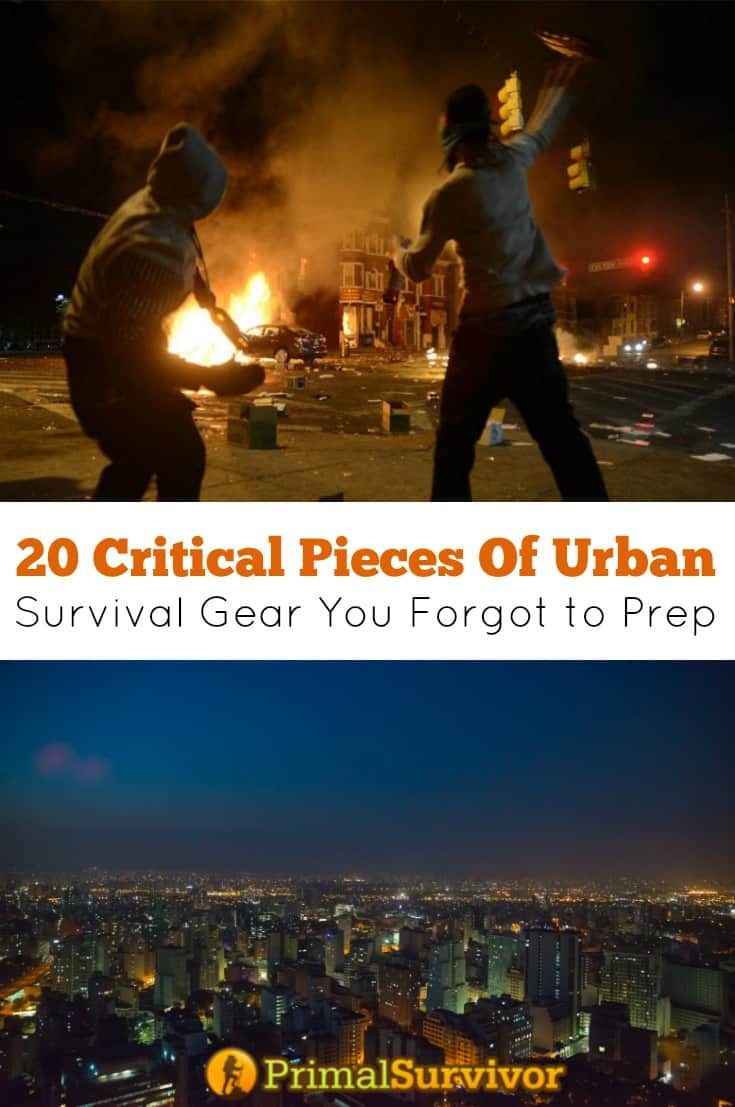 20 Critical Pieces Of Urban Survival Gear You Forgot to Prep. Preppers spend a lot of time talking about what gear to put in their bug out bags. By comparison, we hardly ever talk about urban survival gear beyond the obvious like food, water, and lights.  The truth is that you should be just as prepared for urban survival (aka hunkering down) as you are for evacuation into the wilderness.