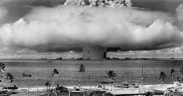 mushroom cloud with nuclear fallout