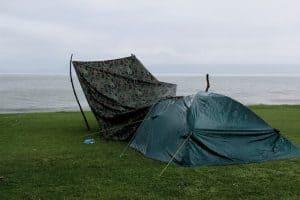 tent in the rain