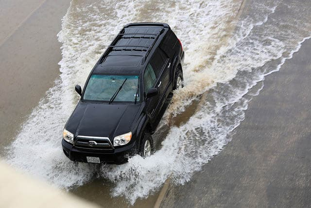 driving through flood water
