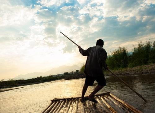 man on raft
