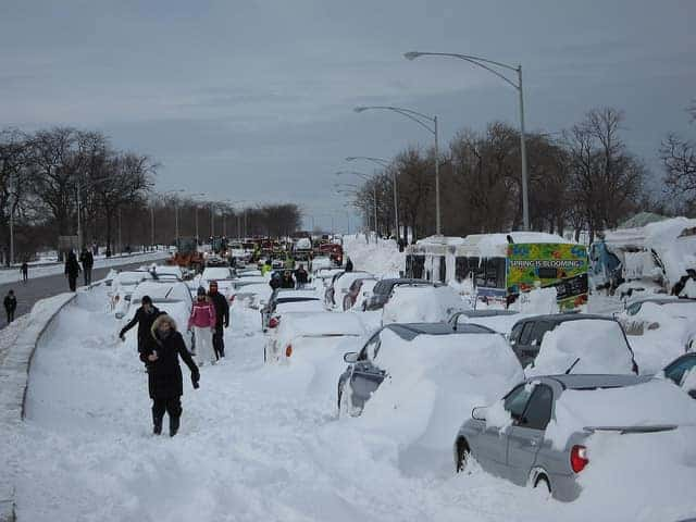 stranded cars during blizzard