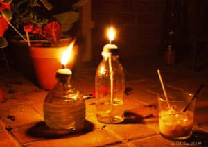 jar vegetable oil lamp
