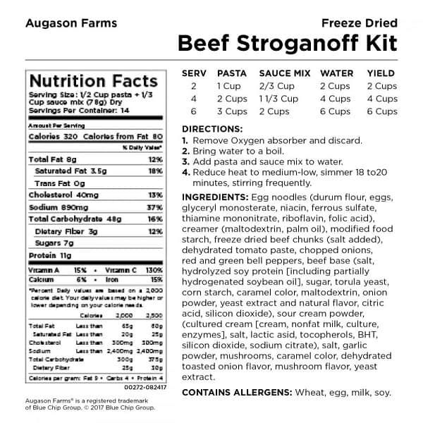 Augason Farms Nutrition Label