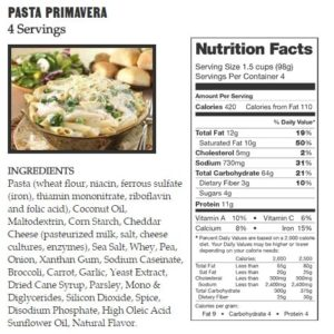 Legacy Food Storage Nutrition Label