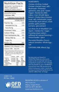 Mountain House Nutrition Label