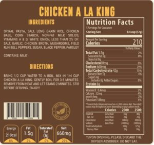Valley Food Storage Nutrition Label