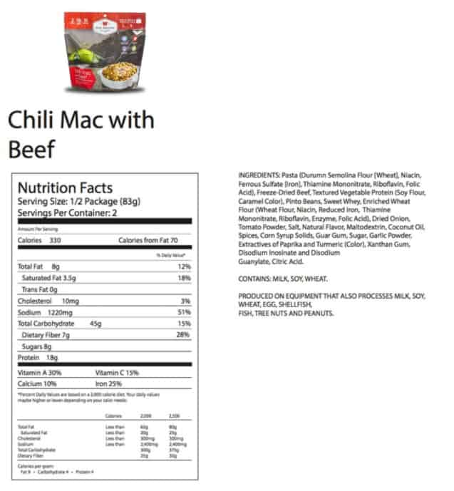 Wise Foods Nutrition Label