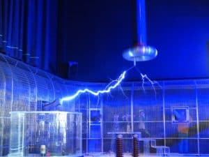 Faraday cage and Tesla coil experiment