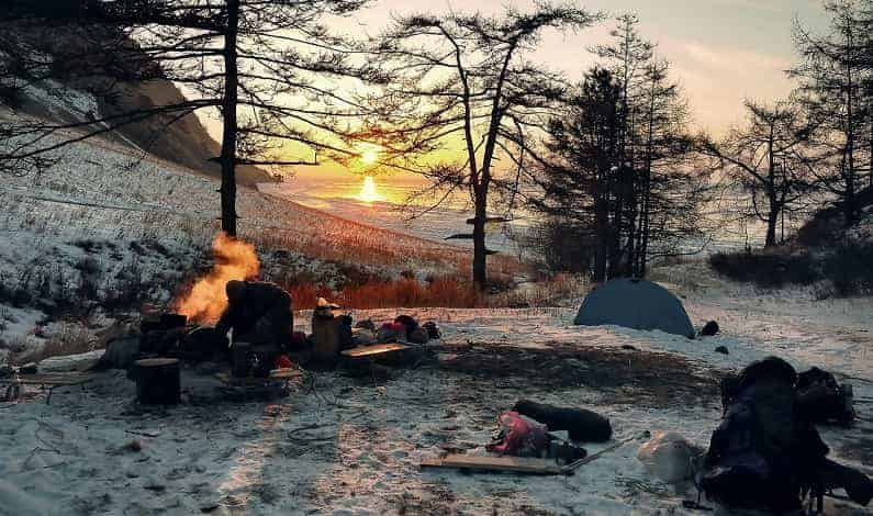 campsite in winter