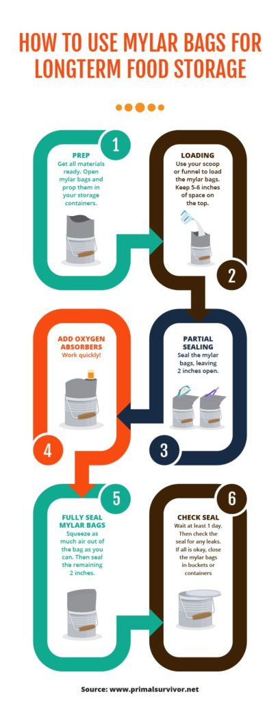 Storing food in mylar bags infographic