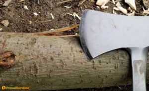 Survival Hatchet and Log