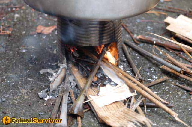 hobo stove in use