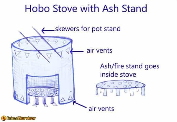 Stove with ash stand