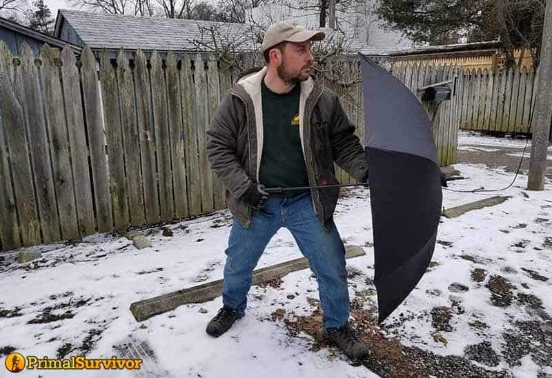 Umbrella in open position