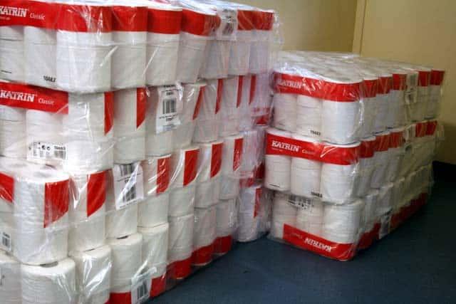 stockpile of toilet paper