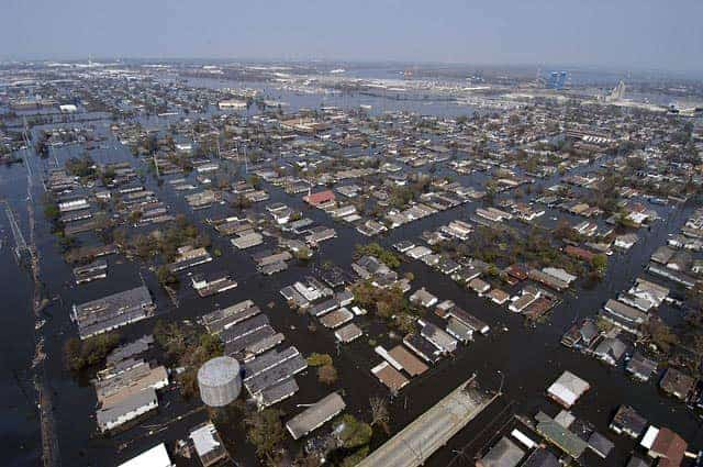New Orleans flooded during hurricane disaster