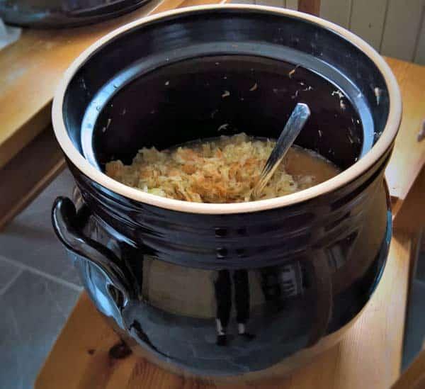 open fermenting crock for sauerkraut
