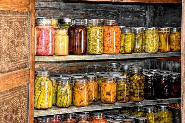 canned goods in root cellar