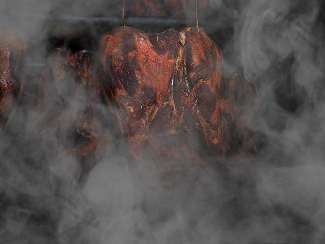 meat in smoker