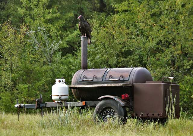 Large smoker in a field