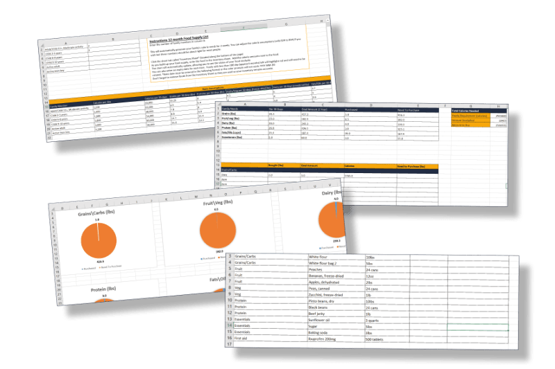 Food binder spreadsheet image