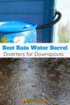 rainwater barrel and rain puddles